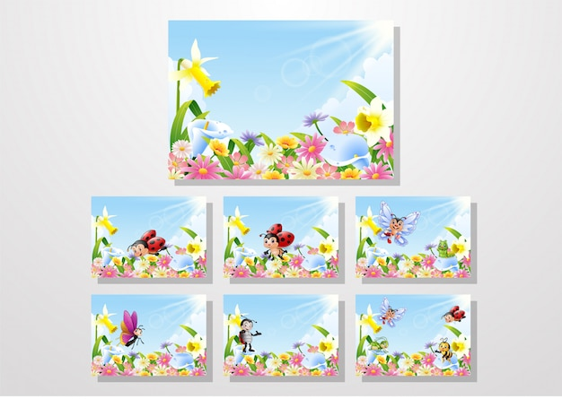 Cartoon bugs flying over flower field