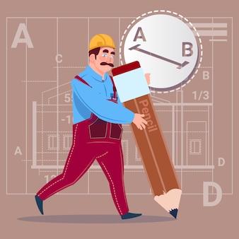 Cartoon builder hold big pencil