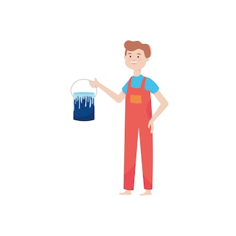 Cartoon builder man holding a paint can over white background