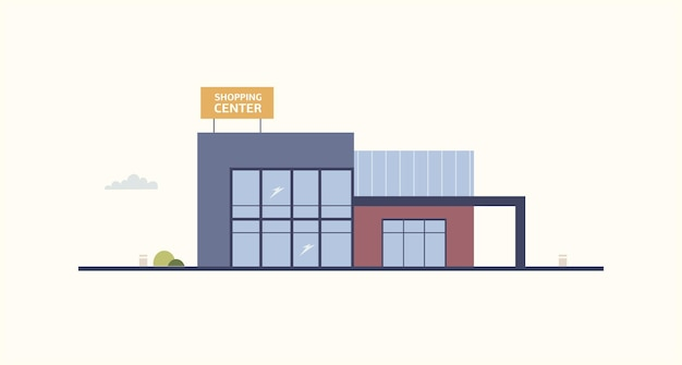 Cartoon building of shopping center or mall with large windows and signboard built in contemporary architectural style. exterior of department store or shop. modern urban design. vector illustration.