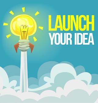 Cartoon bulb rocket idea illustration