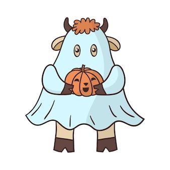 할로윈 호박 유령으로 옷을 입고 만화 황소.