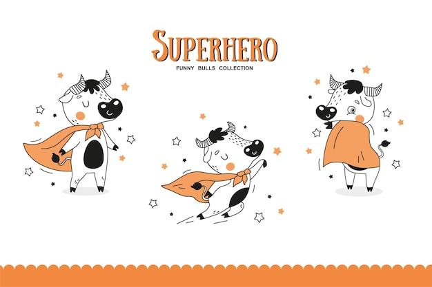 Коллекция мультяшных быков-супергероев