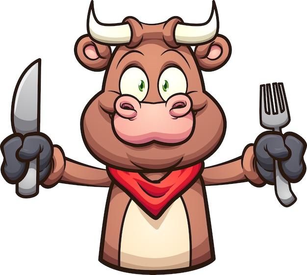 ナイフとフォークを保持している腕を伸ばした漫画の雄牛。
