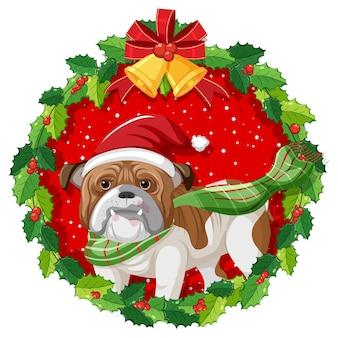 Мультяшный бульдог в рождественском венке изолирован