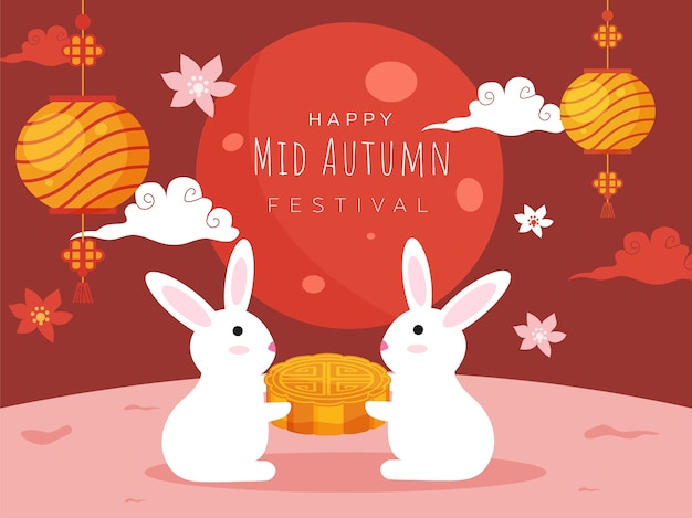 Cartoon bunnies holding a mooncake, flowers, clouds and hanging chinese lanterns decorated on dark red and pink background for happy mid autumn festival celebration.