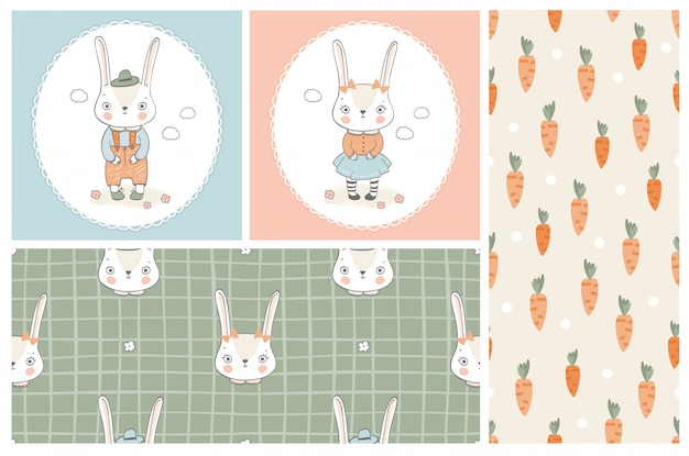 Cartoon bunny character cards and seamless pattern set. hand drawn illustration.