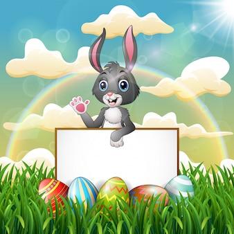 Cartoon bunny holding blank sign on the field
