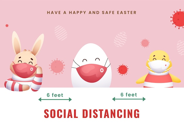 Cartoon bunny with egg, chick wearing protective mask and maintain social distancing on the occasion of easter festival.