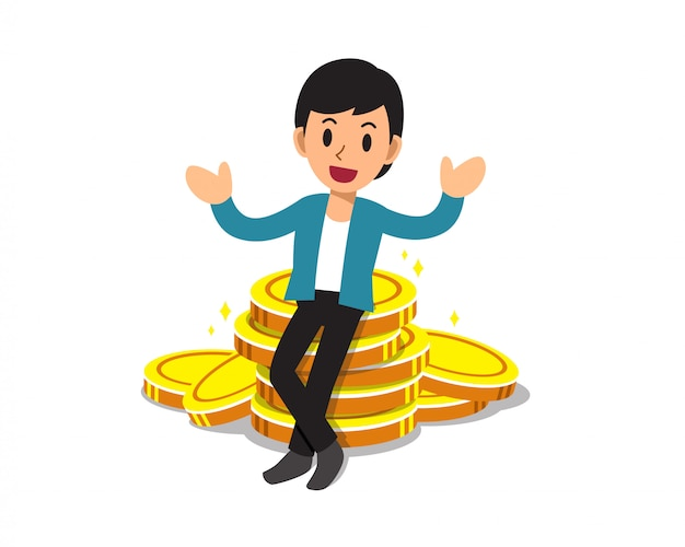 Cartoon business concept businessman with big coin stack