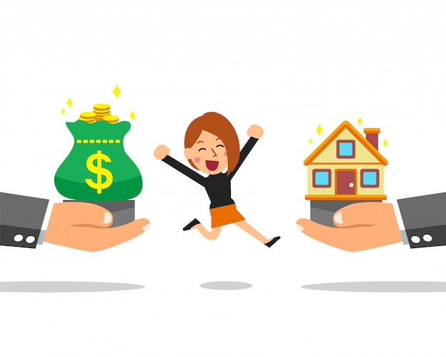 Cartoon business concept businesswoman with house and money