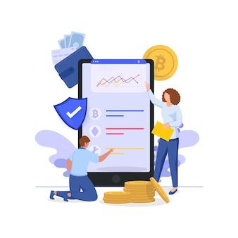 Cartoon business employee maintaining website of data analysis in smartphone.