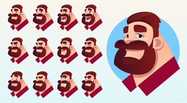 Cartoon business man profile icon different emotions set