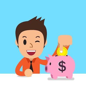 Cartoon business man saving money in piggy bank