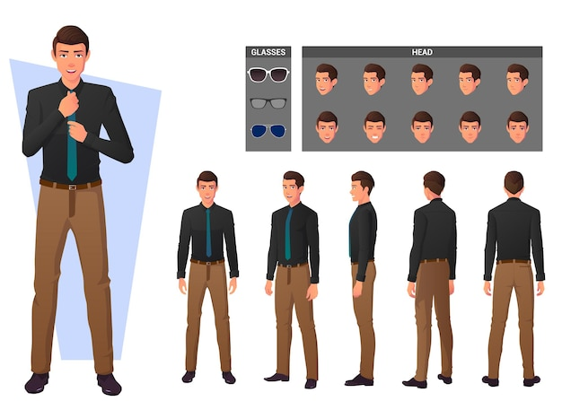 Cartoon business man wearing shirt and standing in different poses character creation set.