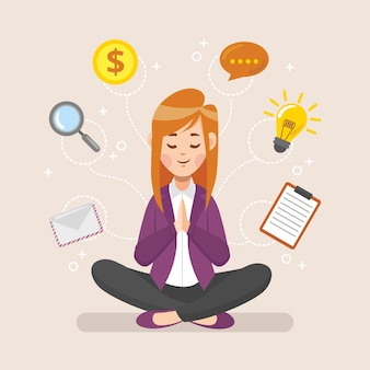 Cartoon business people meditating illustration