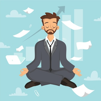 Cartoon business people meditating