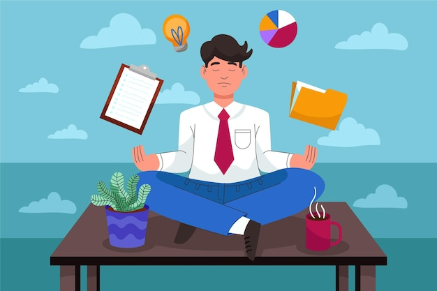 Cartoon business people meditating