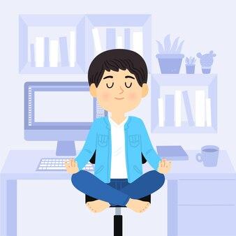 Gente di affari del fumetto meditando