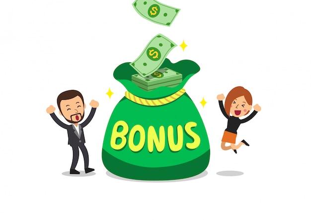 Cartoon business people with big bonus money bag