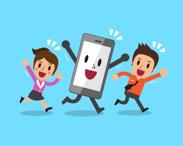 スマートフォンで漫画ビジネス人々