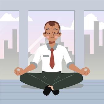 平和的に瞑想する漫画のビジネスパーソン