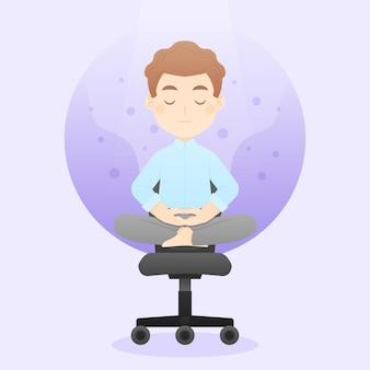 Мультфильм деловой человек медитирует