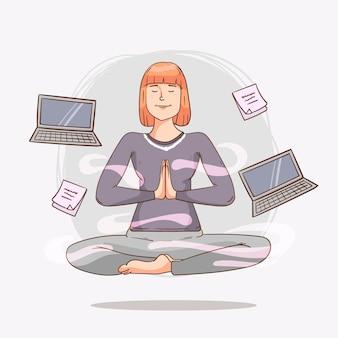 瞑想する漫画のビジネスパーソン