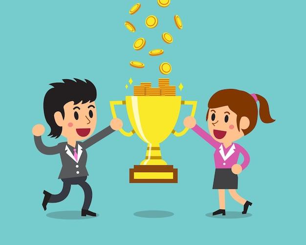 Мультфильм бизнес-команда зарабатывает деньги с трофеем