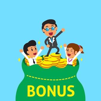 Cartoon business team with bonus money bag