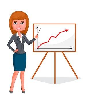 Мультфильм деловая женщина стоит
