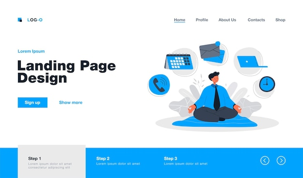 Cartoon businessman character practicing yoga or meditation landing page in flat style