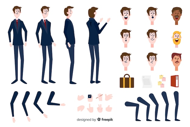 Cartoon businessman character template