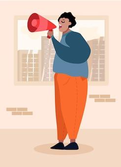 Cartoon businessman character with loudspeaker