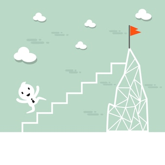 Cartoon businessman climb up the ladder to the top