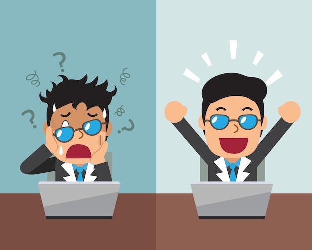 Мультфильм бизнесмен, выражающий разные эмоции