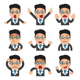 Cartoon businessman faces showing different emotions