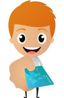 Cartoon businessman give a credit card