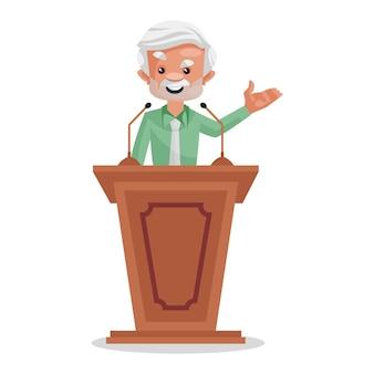 スピーチを与える漫画の実業家