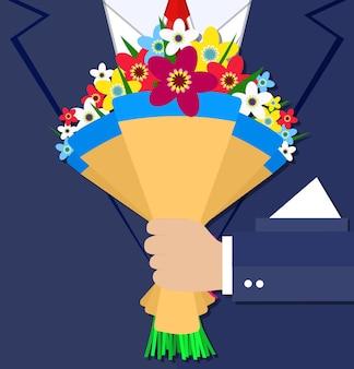 Cartoon businessman hand holding bouquet flowers