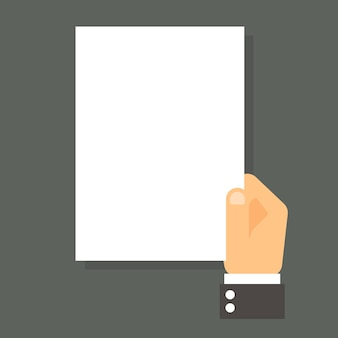 Cartoon businessman hand holding empty blank paper.