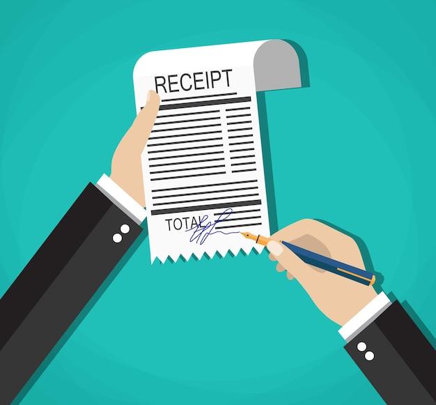Мультяшный бизнесмен руки с квитанцией об оплате знака