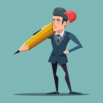Cartoon businessman holding big pencil.