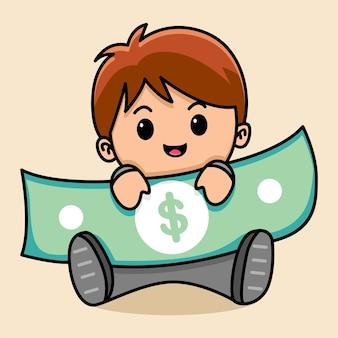 Мультфильм бизнесмен держит деньги