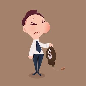Cartoon businessman loss money