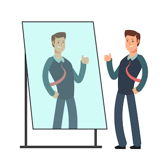 Cartoon businessman loves to look at his reflection in mirror. egoistic person vector consept