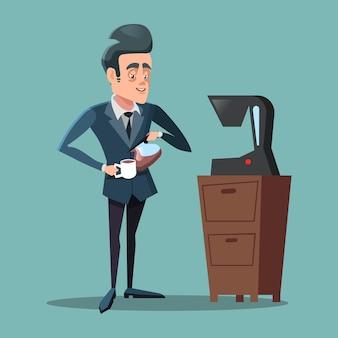 Cartoon businessman making coffee. work break.
