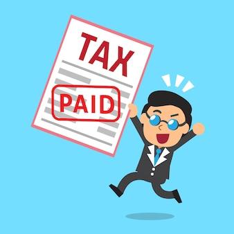 Cartoon businessman paid tax