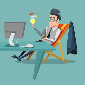 Мультфильм бизнесмен расслабляющий в офисе с тропическим коктейлем. перерыв в работе.