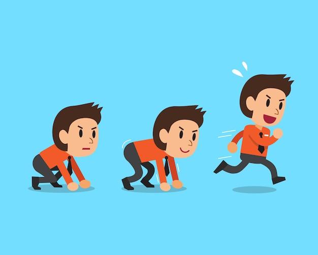 Cartoon businessman running step